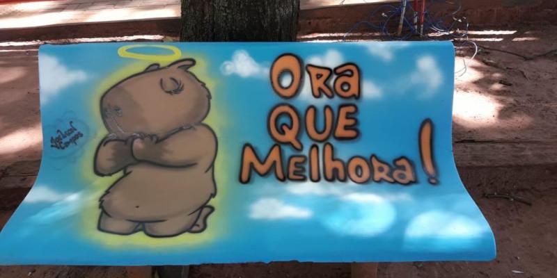 Bancos com pinturas temáticas ampliam visual alegre da Lagoa Maior