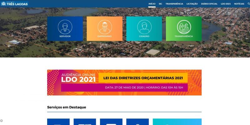Prefeitura de Três Lagoas disponibiliza página temporária enquanto executa melhorias no Site Oficial